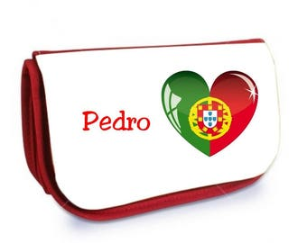 Cosmetic case red /crayons Portugal personalized with name
