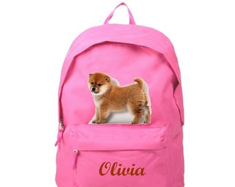 Backpack pink Akita personalized with name