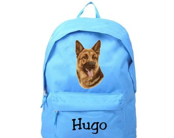 Blue backpack German Shepherd personalized with name