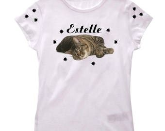 Girl cat personalized with name t-shirt