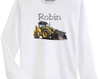 T-shirt boy backhoe long sleeve personalized with name