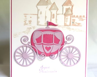 Birthday girl card. Little Princess, carriage, Castle, pink card. Hand made