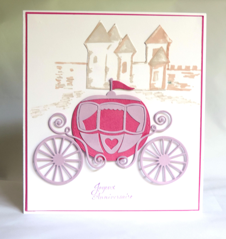 Carte anniversaire fillette carte petite princesse carrosse - Chambre princesse carrosse ...