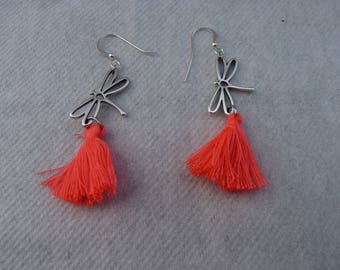 Silver earrings delicate dragonflies and coral tassel