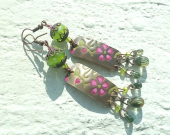 Earrings: the candy - floral sketches