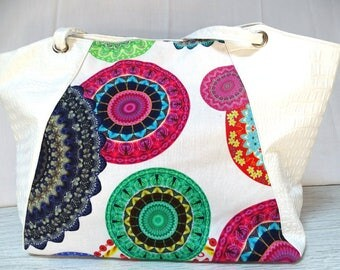 Bag bi material and fabric mandala