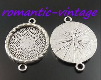 3 brackets, antique silver connector 23mm cabochon