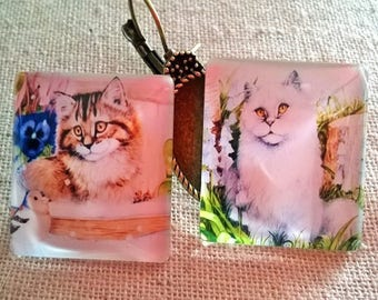 2 illustrated cabochon square glass 25x25mm