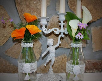Shabby chic glass bottle vase magazine