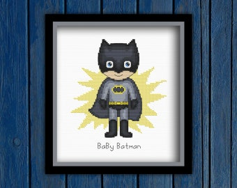 Baby Batman   Marvel superheroes - cross stitch pattern PDF