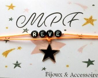 Cord message bracelet - star-