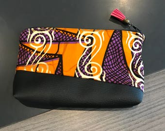 Clutch / zipper pouch / details and fabric African violet, orange gold / black faux leather