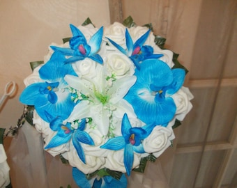 Blue and white Orchid bridal bouquet