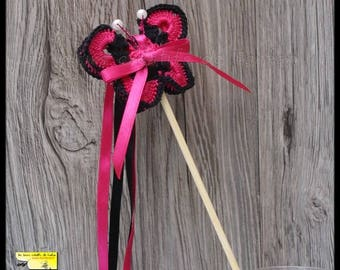 20 sticks ribbons butterflies for Church outing: fuchsia and black crochet and satin ribbon