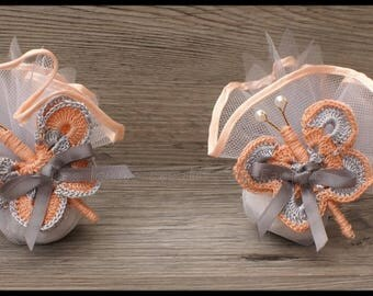 10 door sweets Butterfly salmon and grey for wedding, baptism, communion or other event