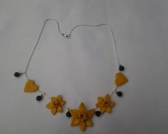polymer clay daffodils necklace silver chain