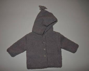 (Coat) hooded wool coat knitted in stockinette stitch stitch & bridge foam
