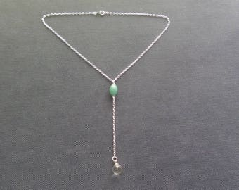 Necklace Bohemian aventurine and rock crystal