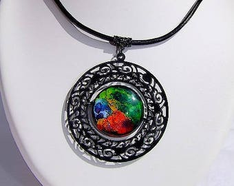 """Necklace with long black leather and sewing called """"Heavenly light""""-inspired pendant"""