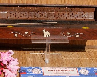 Superb box incense carved wood and copper 31 cm long