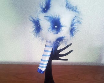bouquet of feathers for wedding theme bridal Royal Blue feathers