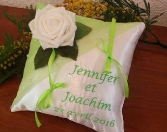 Visit my shop! many designs - wedding ring pillow - lime with white rose wedding