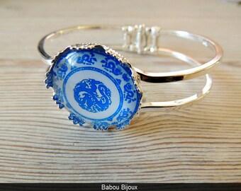 New Bracelet Bangle silver cabochon 2.5 cm Blue Arabesque flowers