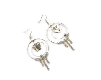 Silver earrings romantic style