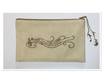 EMBROIDERED COFFEE COLOR MUSICAL STAFF KIT