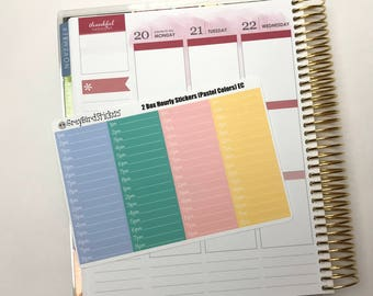 Hourly Boxes (Pastel Colors) for the Erin Condren Life Planner, Happy Planner and More!