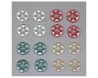 80 x buttons basic 14 mm 2 holes set star F *-000843