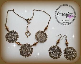 Choker and earrings set in bronze