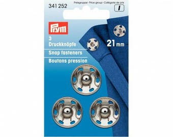 3 snap buttons 21mm silver PRYM sewing