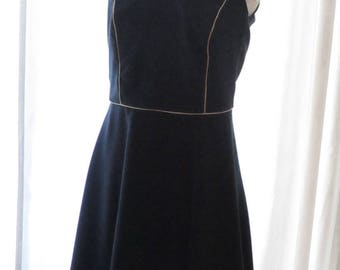 Navy and gold - sleeveless dress to order