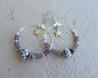 hoop earrings silver and purple, violet, white, glass artisan, Bohemian chic, polka dots and stars