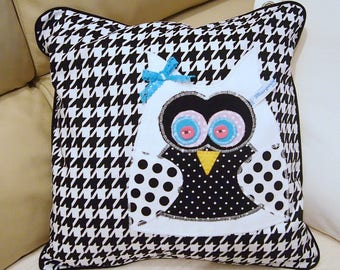 cushion, pillow, owl, black and white