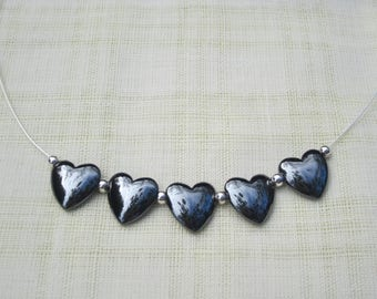Silver plated necklace with Hematite hearts