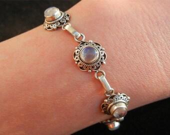 Bracelet charm white Labradorite (Moonstone) in solid 925 sterling silver