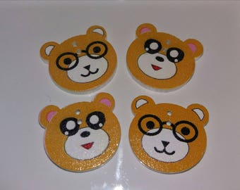 lot 4 mustard yellow funny bears buttons