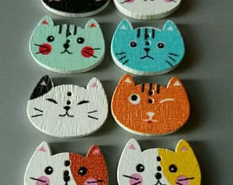 set of 8 wooden cat buttons all cute