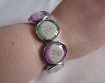 Elastic bracelet 8 LIQUIDATION green purple cabochons