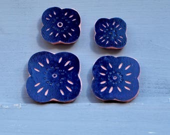 "Pack of 4 hand carved rubber stamp ""cherry tree flowers"""