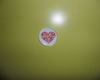 glass cabochon illustrated heart red round 30 mm