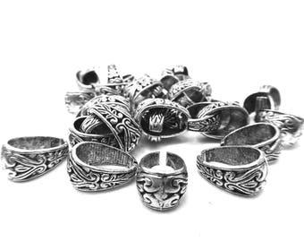 14 1.5 cm long silver metal ornate bails
