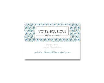 Taupe and blue square Scandinavian pattern card