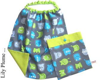 napkin elasticated child & little monsters, Martians pouch...