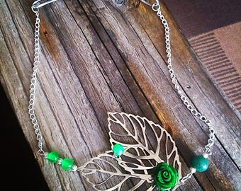 HeadBand nature headband filigree silver leaves and green flower cabochon
