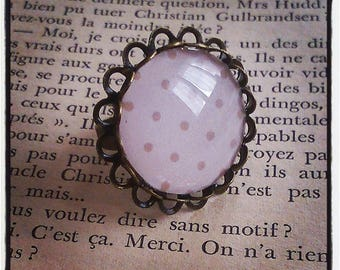 beige polka dots on brass cabochon ring