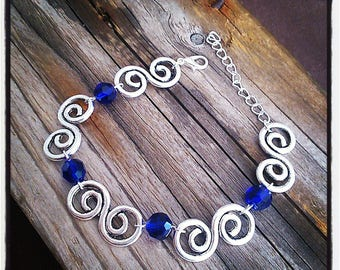 arabesque silver plated bracelet, Royal blue glass beads