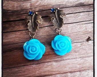 bronze leaf studs and turquoise resin Flower Earrings